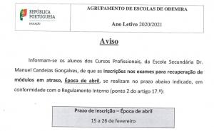 Cursos Profissionais: Inscrição nos exames para recuperação de módulos em atraso - Época de abril