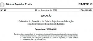 Despacho n.º 1689-A/2021, de 12 de fevereiro (alteração do calendário escolar e provas e exames)